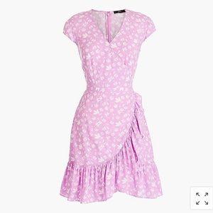 ruffle front mini dress in rayon bubblegum floral